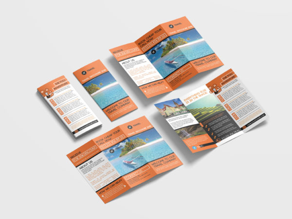 Beautiful Travel Tri-Fold Brochure Design Templates
