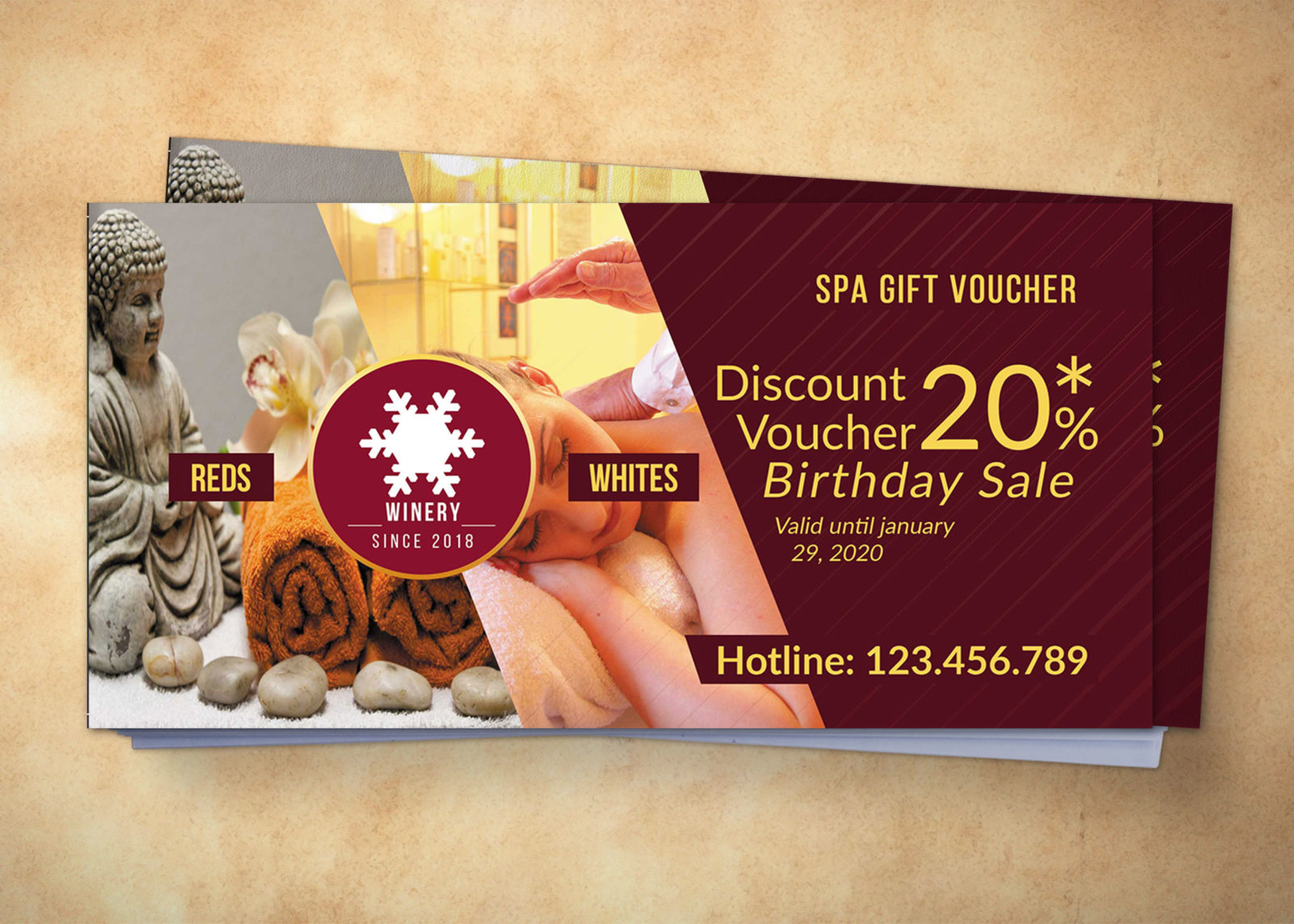 Spa Gift Voucher Design Template