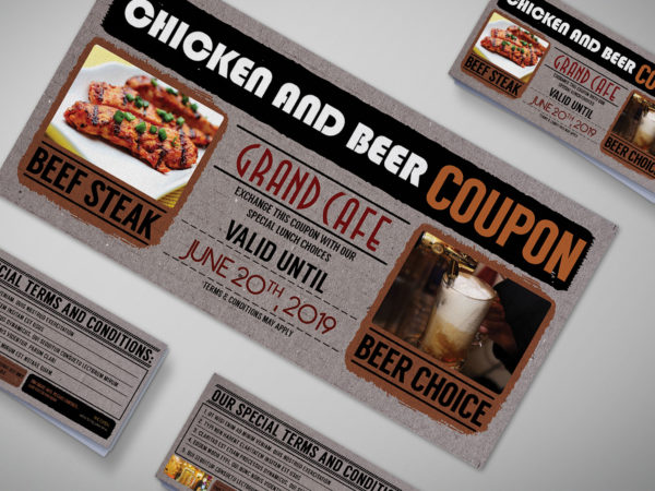 Beer Cardboard Coupon Card Design Template
