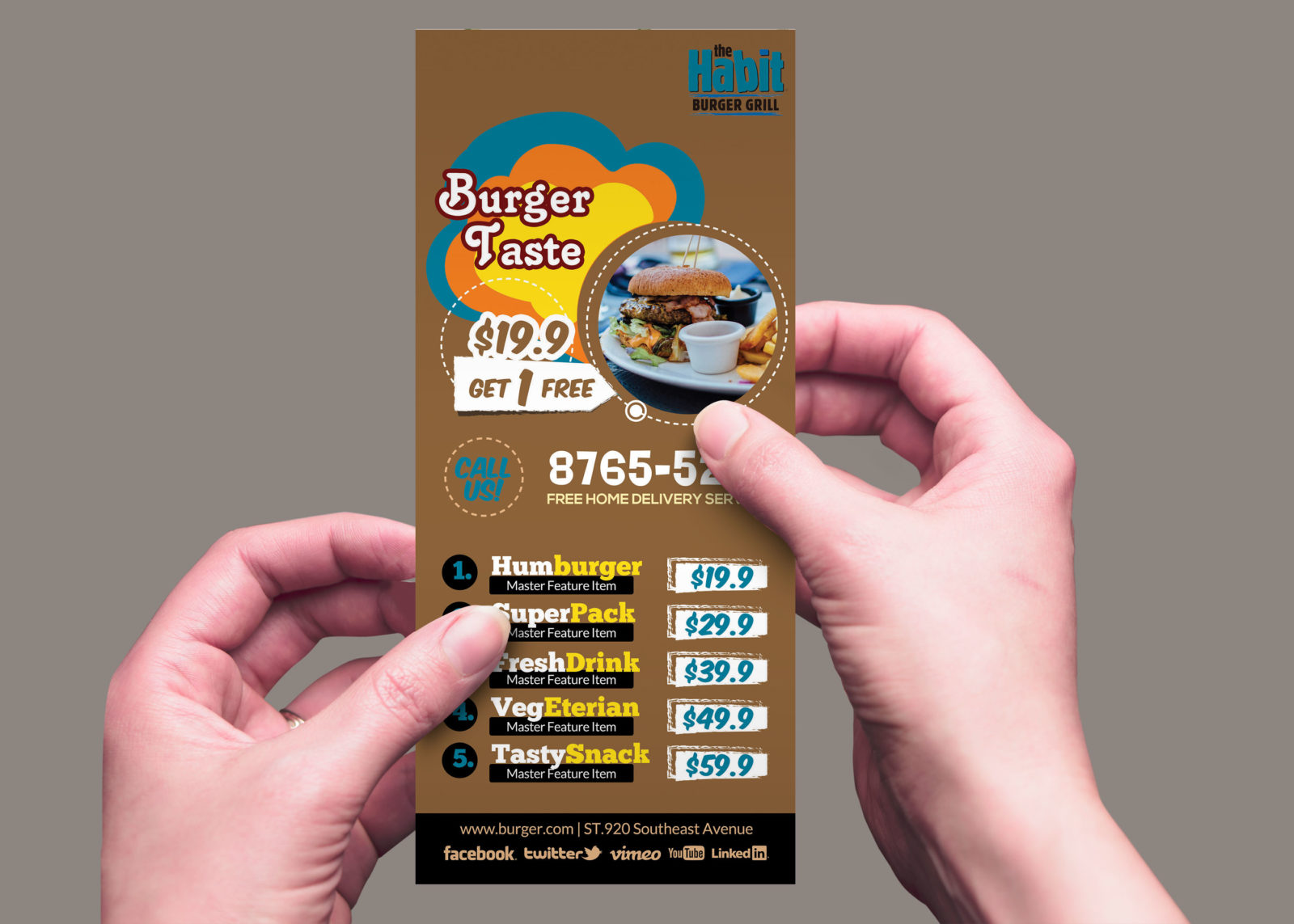 Restaurant Rack Card Design Template