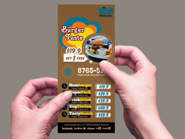 Burger Restaurant Rack Card Design Template
