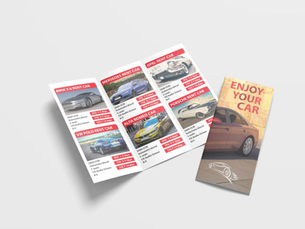Car Rental Tri Fold Brochure Design Template