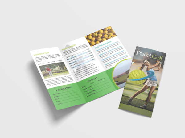 Charity Golf Tri fold Brochure Design Template