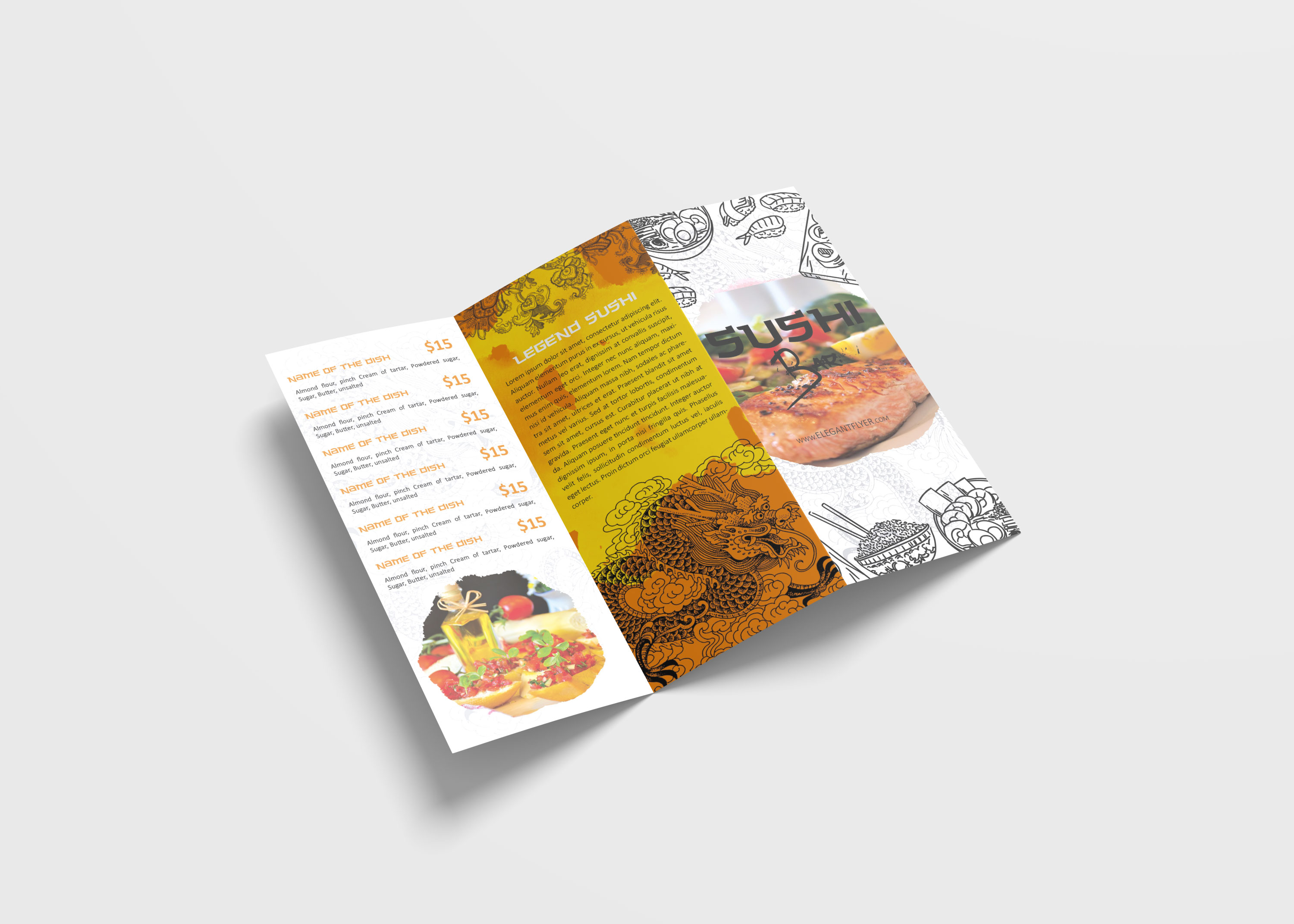 Chinese Restaurant Tri Fold Brochure Design Template 99effects