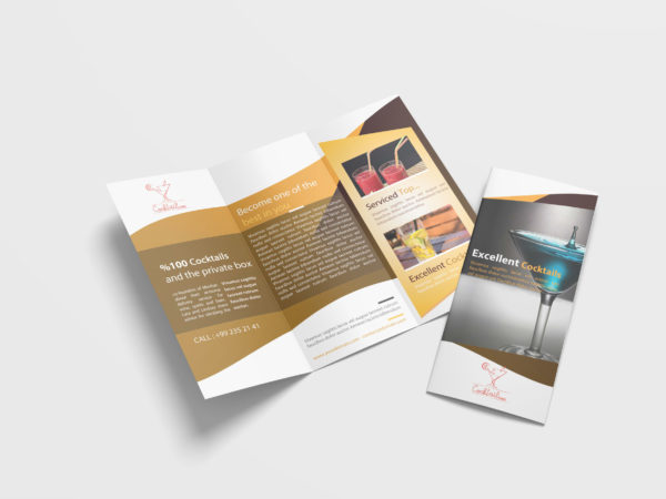 Cocktail Drink Tri-Fold Brochure Design Template