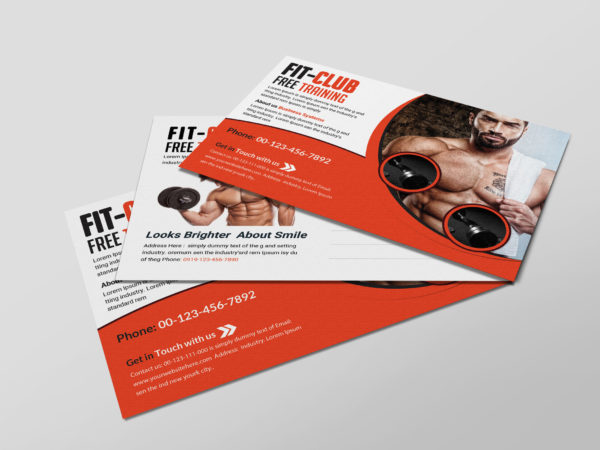 Fitness Gym Postcard Design Template