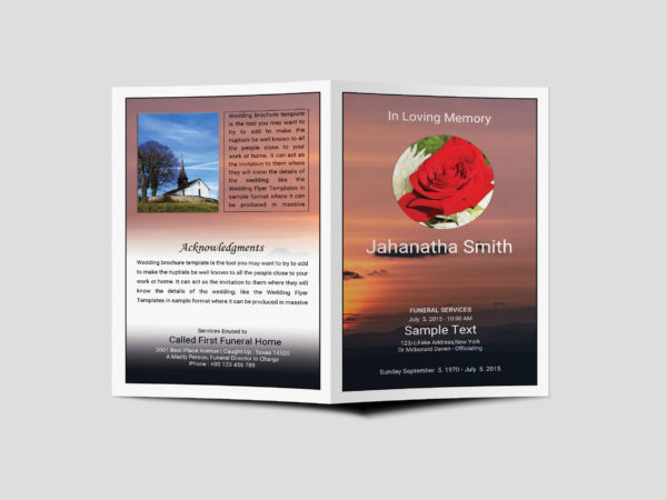 Funeral Program Bi-Fold Brochure Design Template