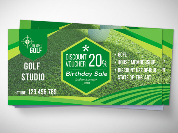 Golf Tournament Gift Voucher Design Template