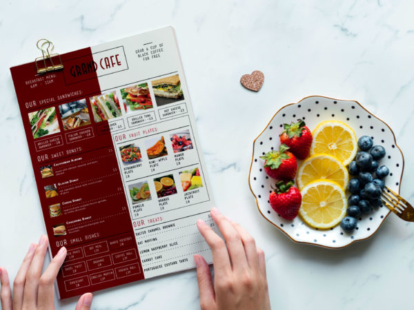 Grand Cafe Menu Bi-Fold Brochure Design Template