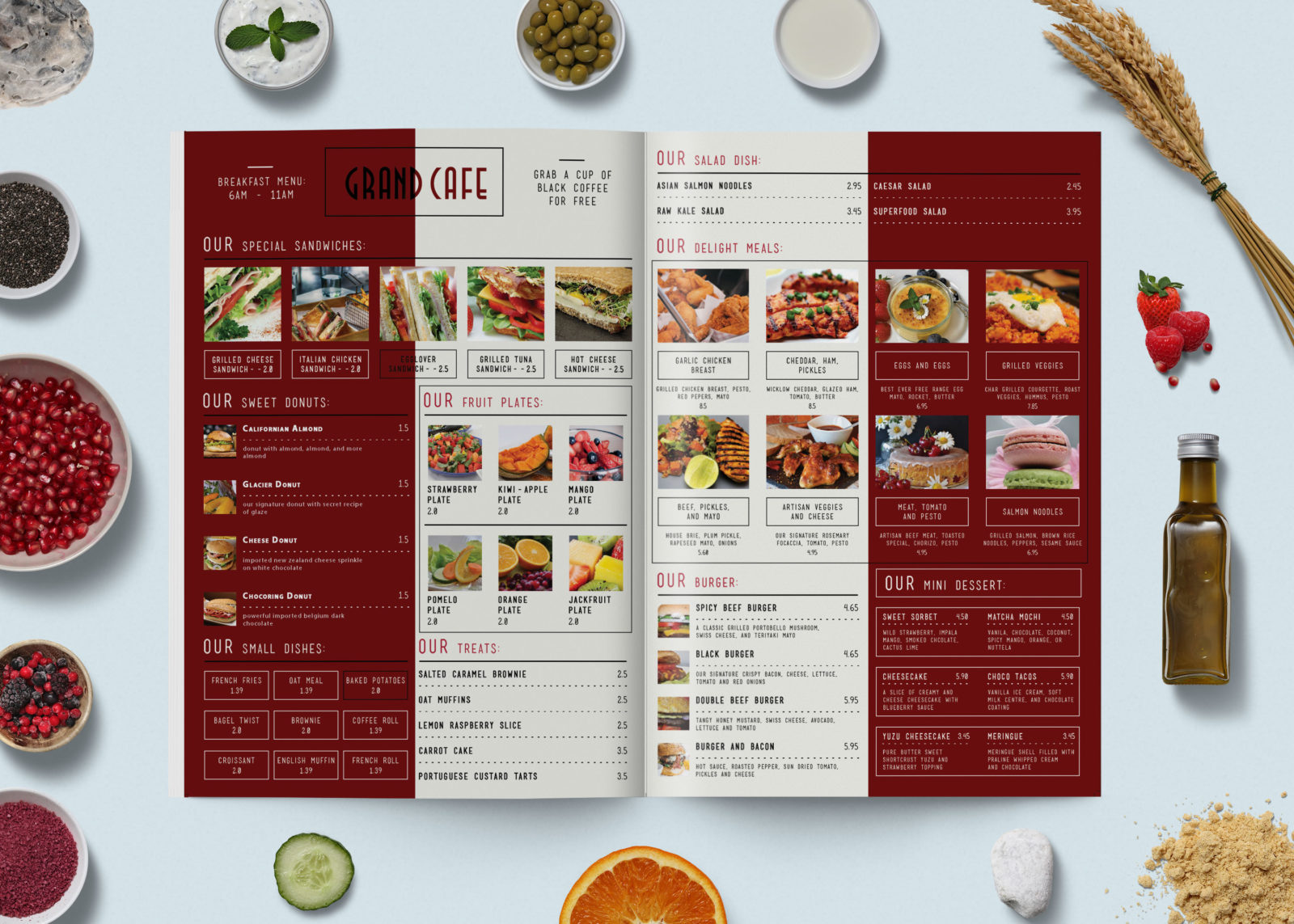 Cafe Menu Bi-Fold Brochure Design Template