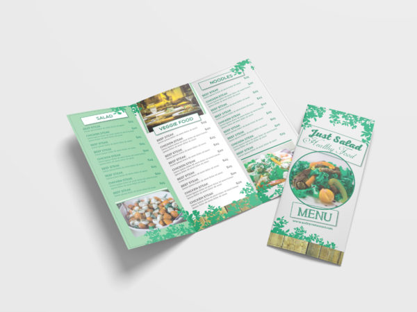 Healthy Food Menu Tri-Fold Brochure Design Template