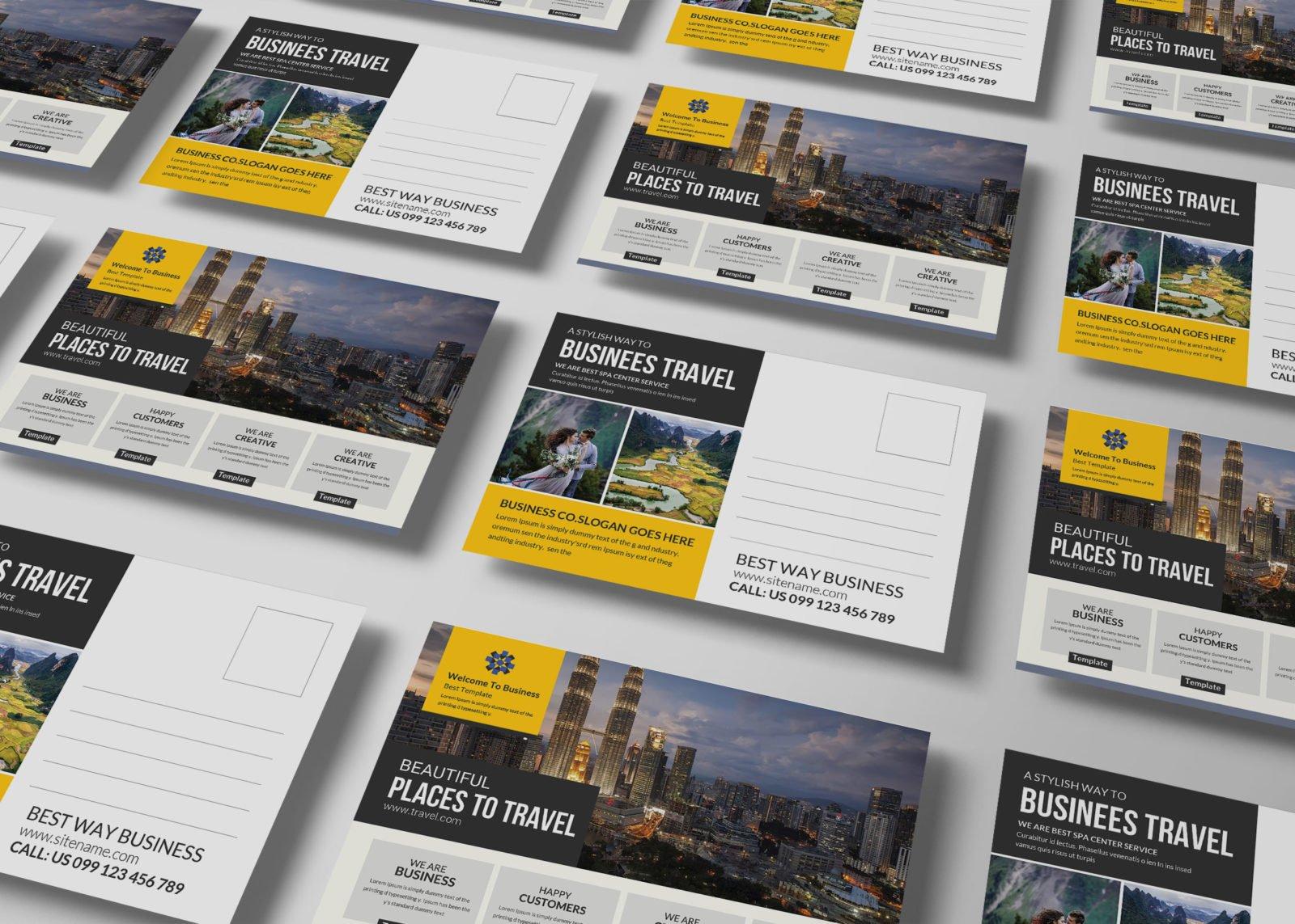 Holiday Travel Postcard Design Template