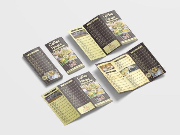 Coffee Shop Menu Tri-Fold Brochure Design Template