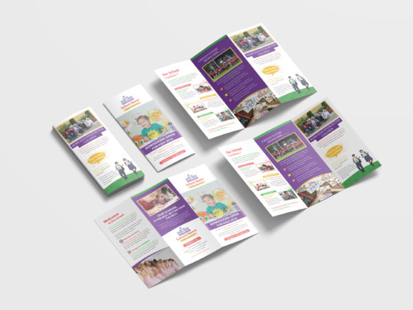 Kindergarten School Tri Fold Brochure  Design Template