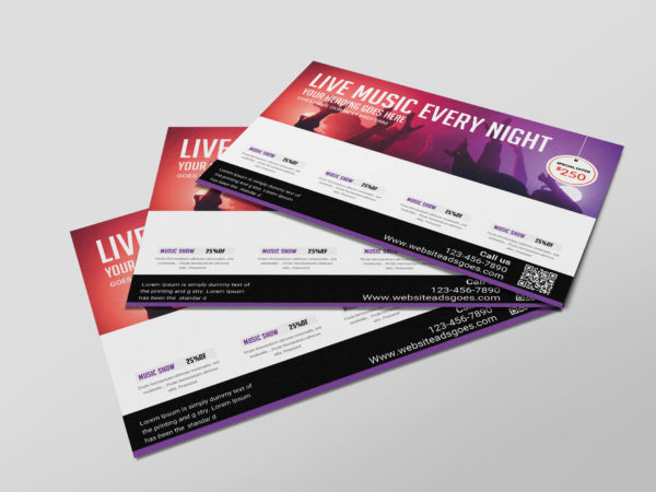 Live Music Postcard PSD Design Template