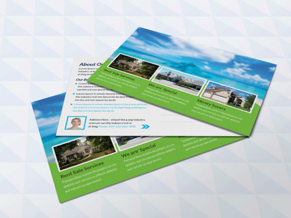 Mountain Real Estate Postcard Design Template
