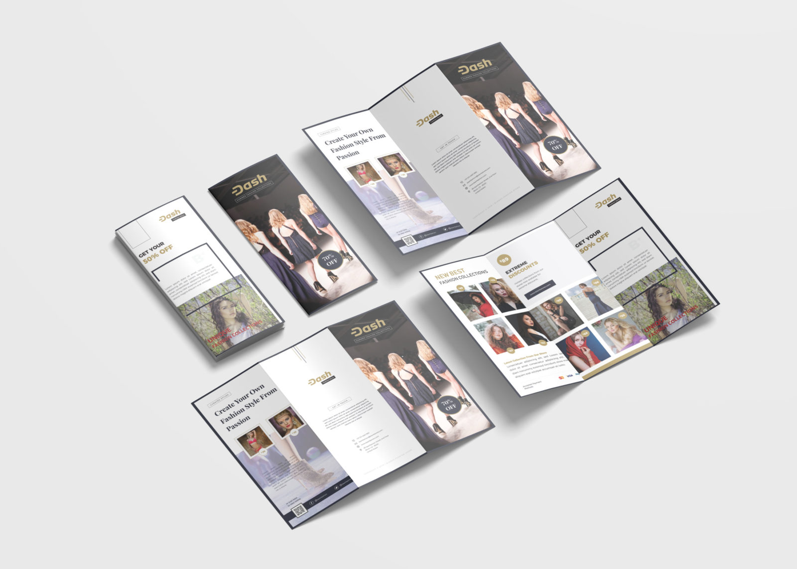 Fashion Brochure Tri-Fold Design Template