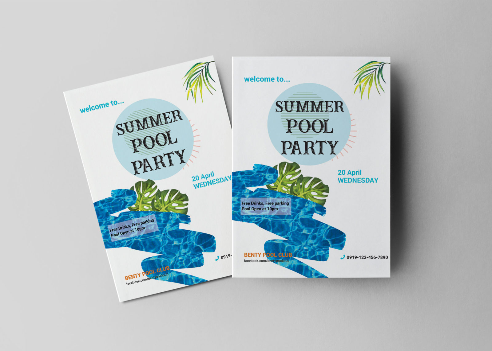 Summer Pool Party Flyer Design Template