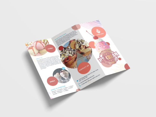 Ice Cream Sales Tri-Fold Brochure Design Template