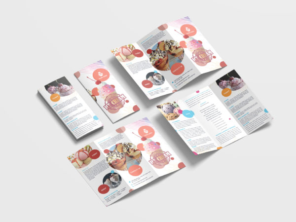 Sweet Ice Cream Sales Tri-Fold Brochure Design Template