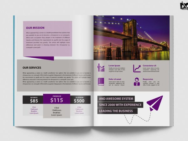 Tourist Bi-Fold Brochure Design Template