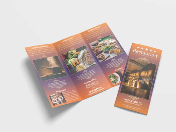 Traditional Restaurant Tri-Fold Brochure Design Template