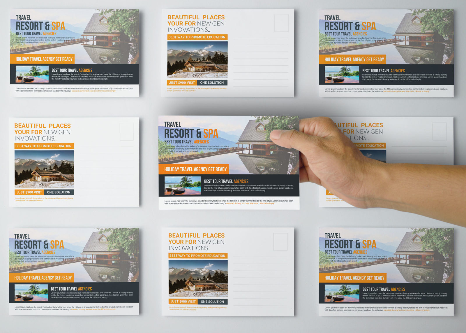 Travel Postcards Design Template