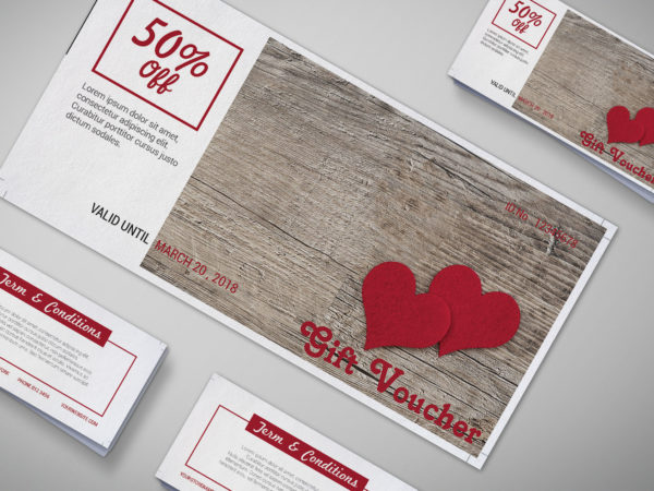 Valentine's Day  Gift Voucher Design Template