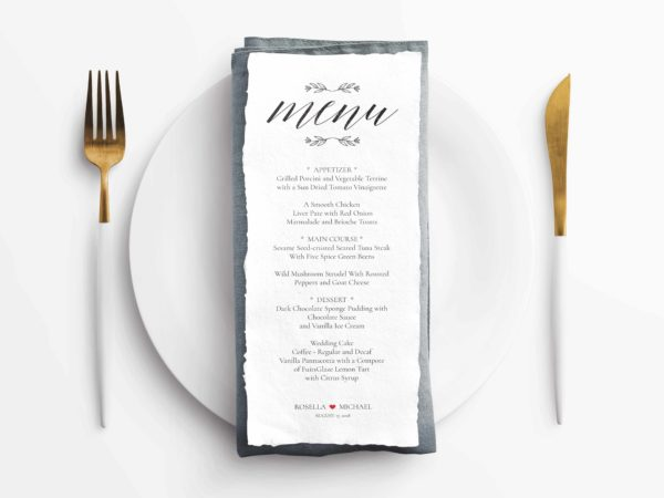 Rustic Wedding Menu Template PSD
