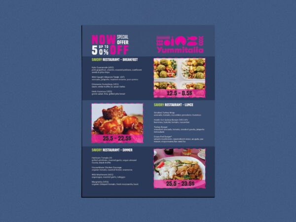 Dark Food Menu  PSD Template