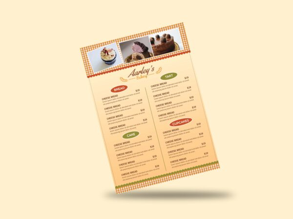 Bakery Menu Flyer template