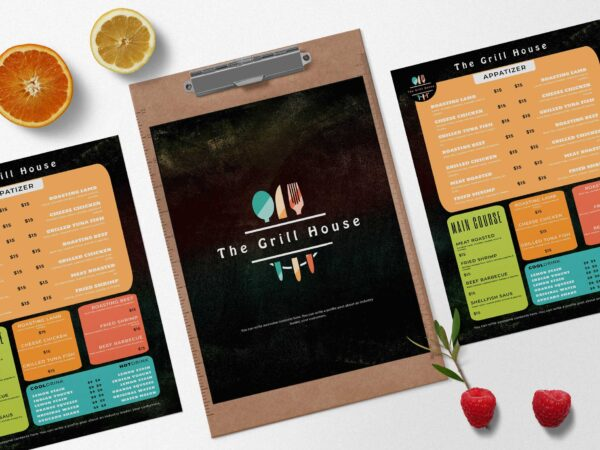 Creative Grill Menu Design