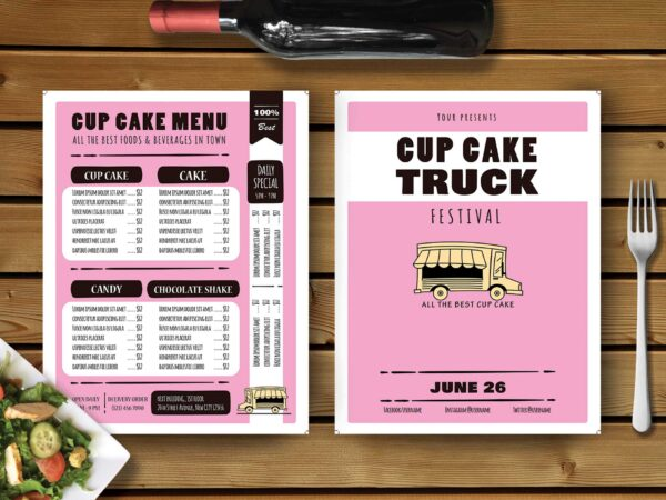 Cup Cake Cafe Menu Design