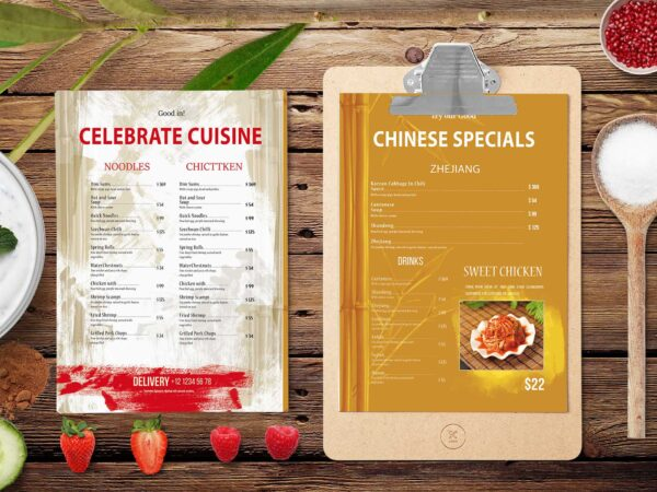 Sushi Bar Chinese Menu Mockup