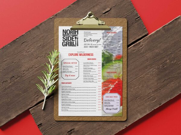 Grill Side Poster Tabloid Menu Design