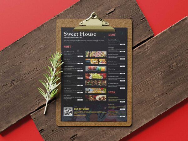 Sweet House Restaurant Poster Tabloid Menu Design
