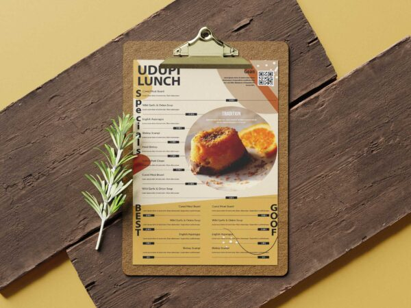Udupi Restaurant Poster Tabloid Menu Design