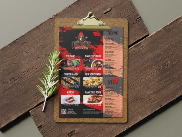 Fire House Grill Poster Tabloid Menu Design