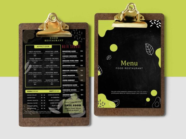 Restaurant Blackboard Food Menu Design