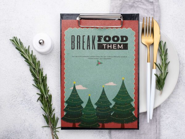 Christmas Dinner Menu Template Design