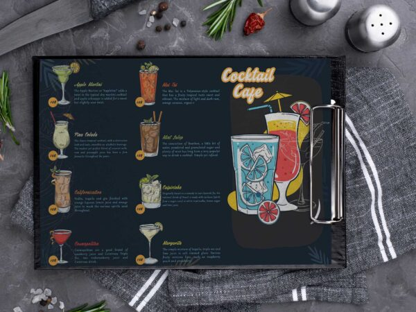 Cocktail Cafe Menu Design Template