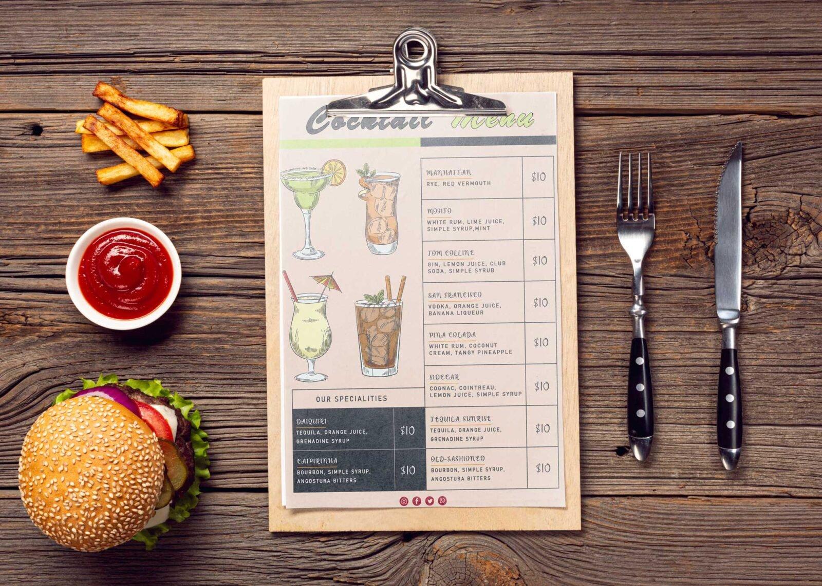 Contemporary Cocktail Menu Design Template