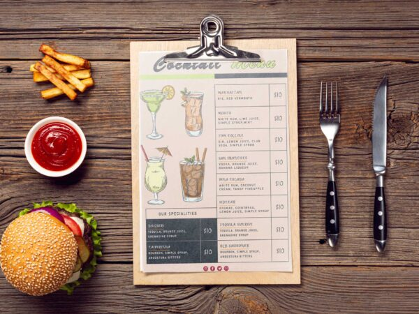 Contemporary Cocktail Menu Design Template