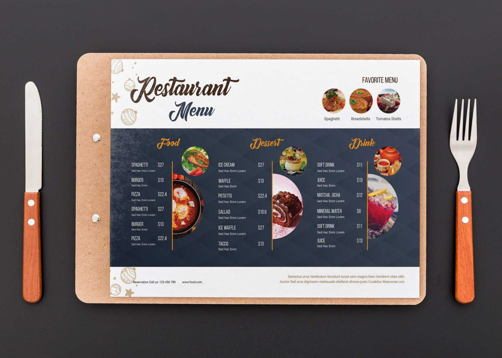 Elegant Menu Design Templates