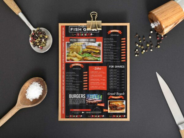 Fish Grill Menu Design Template