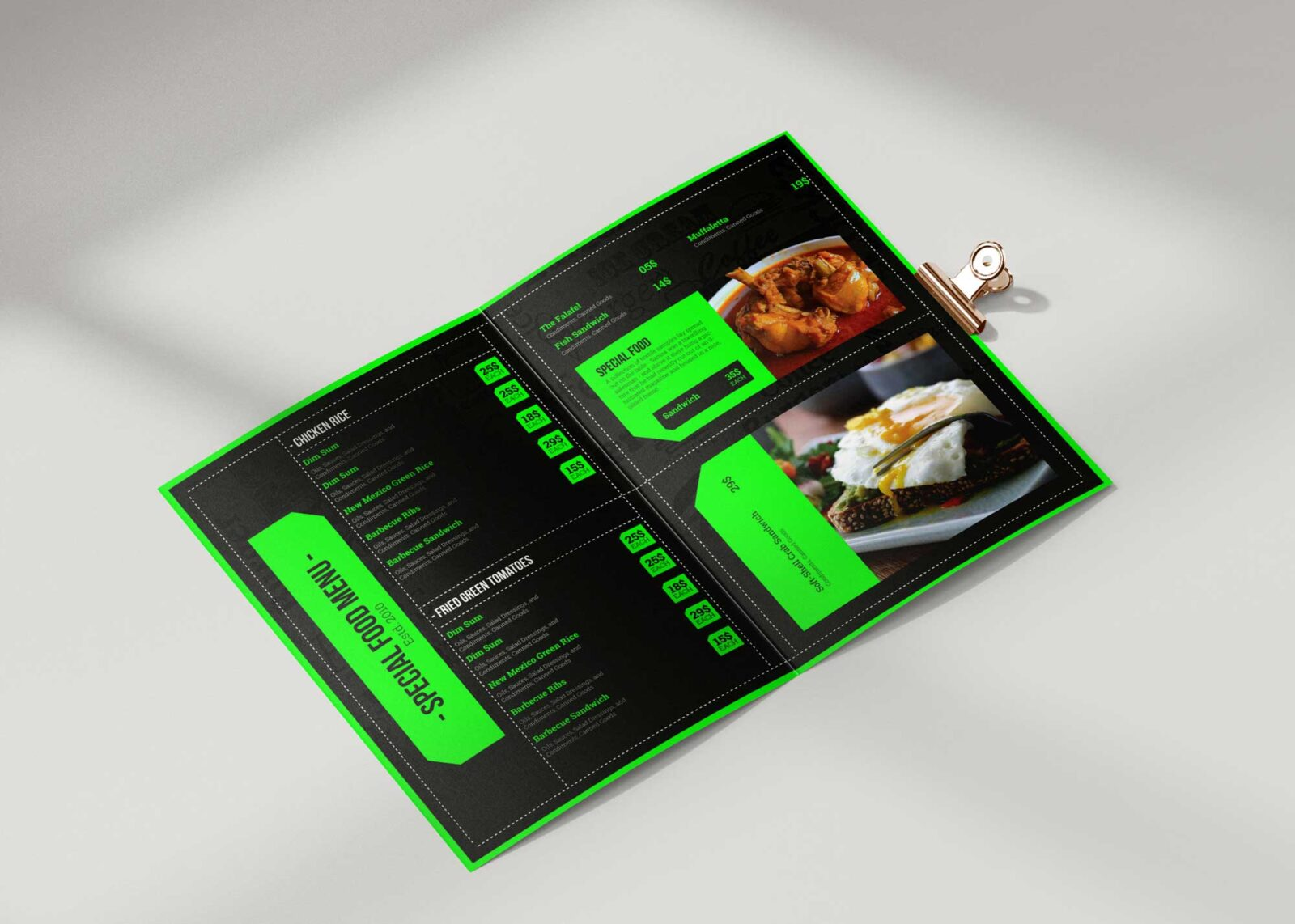 Food Cafe Bi-Fold Menu Design Template