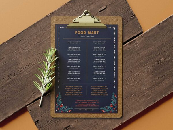 Food Mart Christmas Menu Design Template