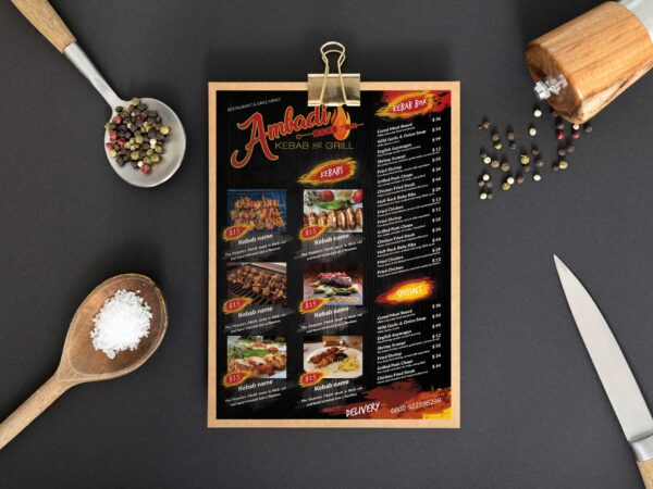 Grill Kebabs Menu Design Template