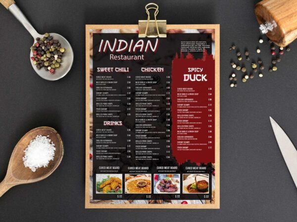 Indian Spice Menu Card Design Template
