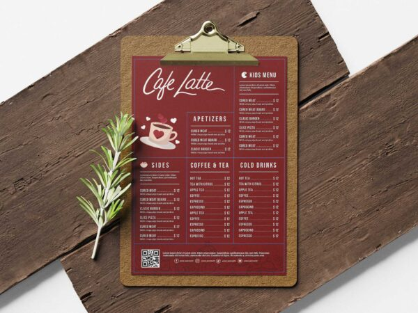 Line Cafe Menu Design Template